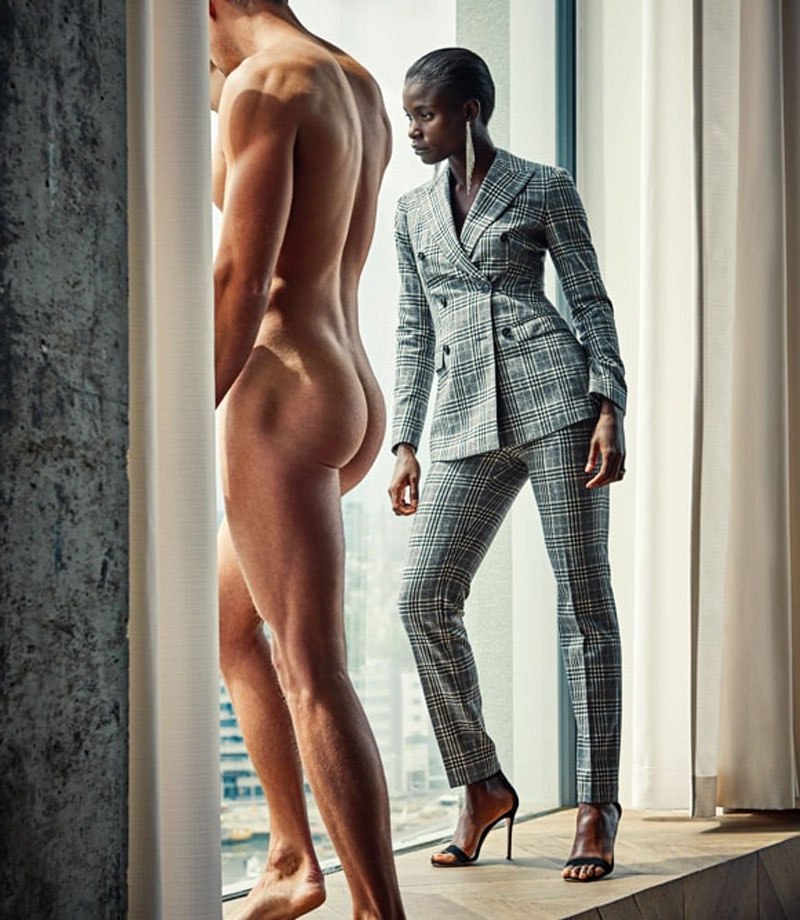 nude men suited woman