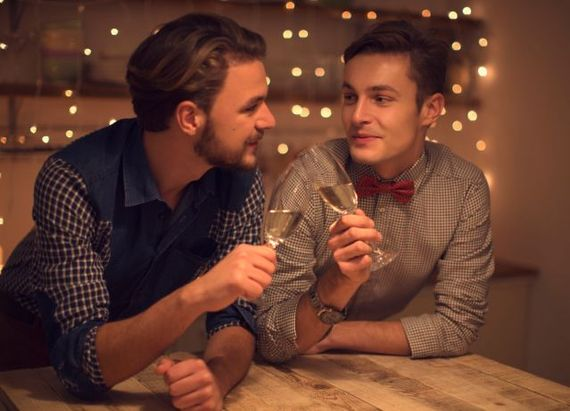 gay sexy couple talking