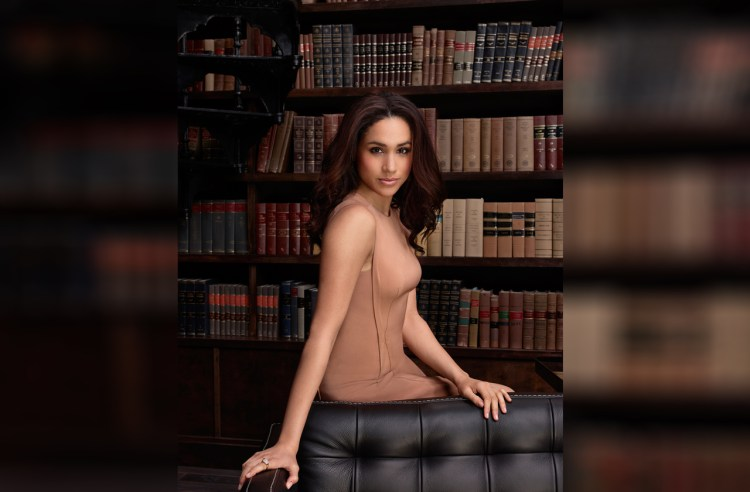 Meghan Markle sexy in front of bookshelf