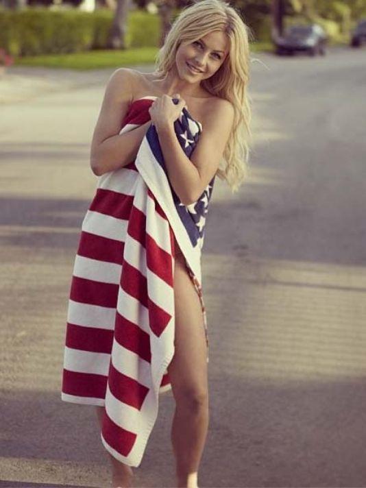 hot woman in us flag towel